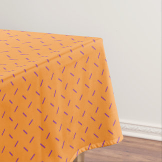 Orange with Purple Dash Pattern Tablecloth