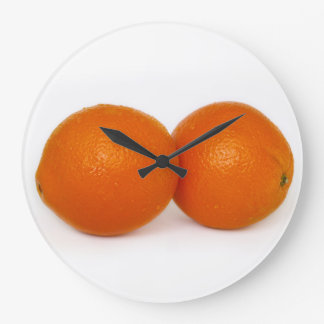 Orange with water drops large clock