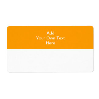 Orange with white area and text. shipping label