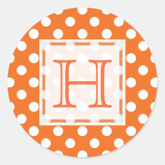 Orange With White Polka-dot Monogram Stickers