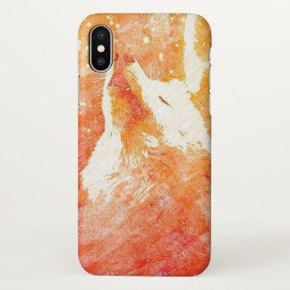 Orange Wolf iPhone X Glossy Case