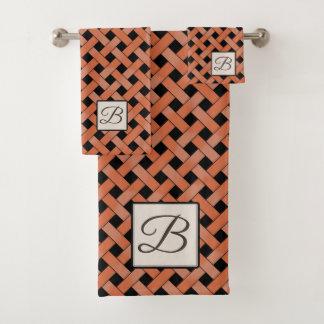 Orange Woven Rattan on Custom Color with Monogram Bath Towel Set