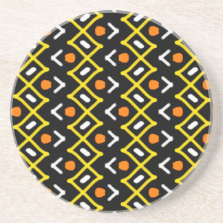 Orange Yellow and Black Abstract Tribal Pattern Coaster