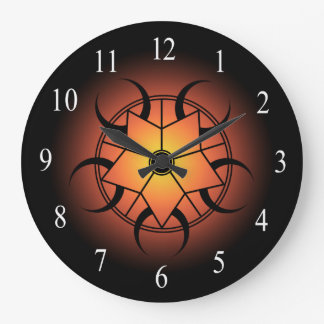 Orange Yellow And Black Celtic Crop Circle Large Clock