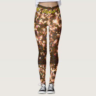 Orange Yellow and Black Pixel Mosaic Pattern Leggings