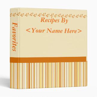 Orange, Yellow and Cream Striped Recipe Binder
