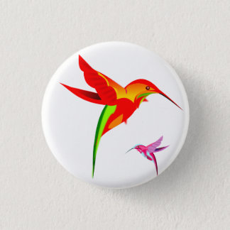 Orange Yellow And Green Hummingbird 1 Inch Round Button