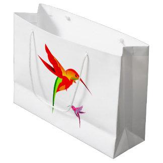 Orange Yellow And Green Hummingbird Large Gift Bag