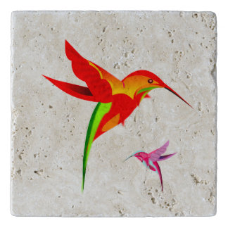 Orange Yellow And Green Hummingbird Trivet