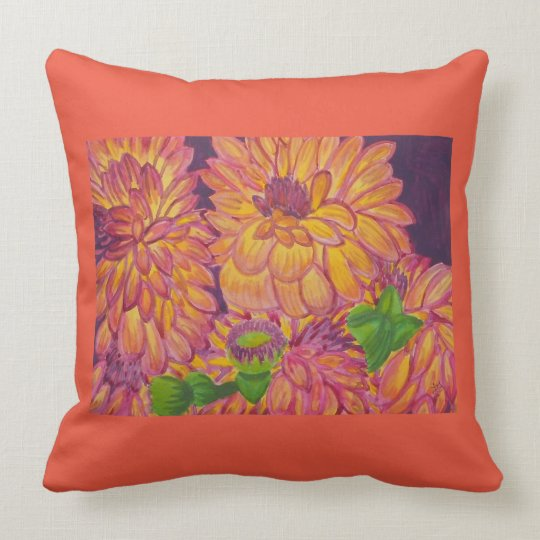 Orange, Yellow and Purple Dahlias Watercolor 2 Throw Pillow
