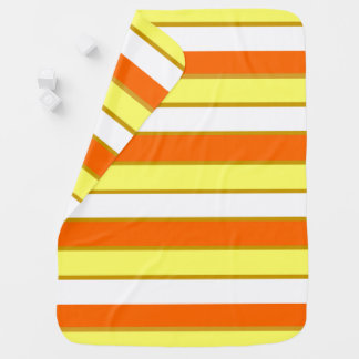 Orange, Yellow and White Stripes Baby Blanket
