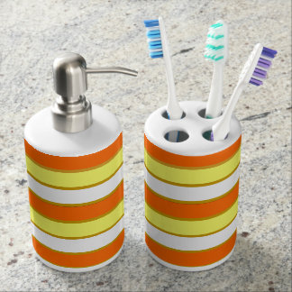 Orange, Yellow and White Stripes Soap Dispenser And Toothbrush Holder