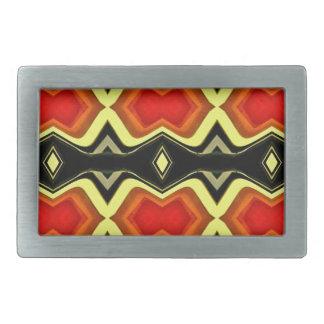 Orange Yellow Black Fall Tribal Pattern Belt Buckles