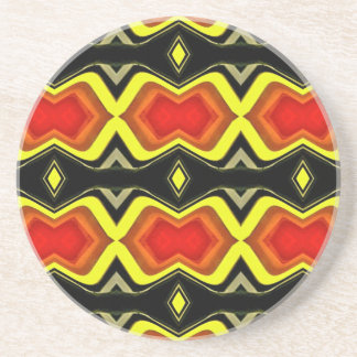 Orange Yellow Black Fall Tribal Pattern Coaster