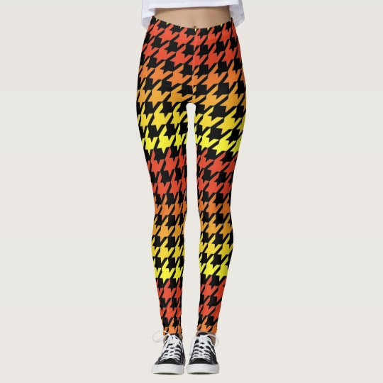 Orange yellow black houndstooth pattern leggings