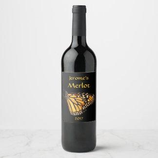 Orange Yellow Black Monarch Butterfly Wine Label