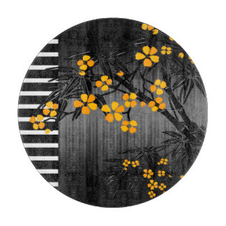 Orange Yellow Blossoms Floral On Black Asian Cutting Boards