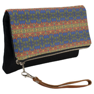 Orange Yellow Blue And Green Bright Floral Pattern Clutch