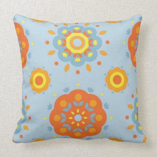 Orange Yellow  Blue Throw Pillow