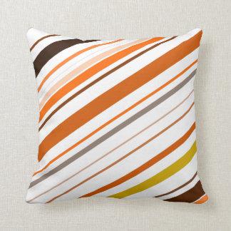 Orange, Yellow, Brown and White Diagonal Stripes Throw Pillow