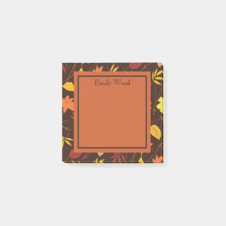 Orange Yellow Brown Personalized Fall Leaves Post Post-it Notes