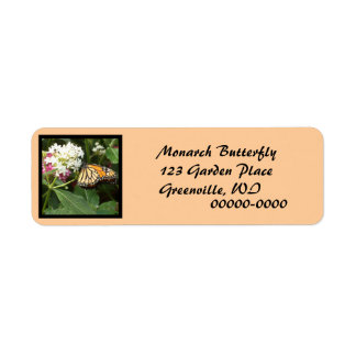 Orange Yellow Butterfly Pink White Flowers Return Address Label