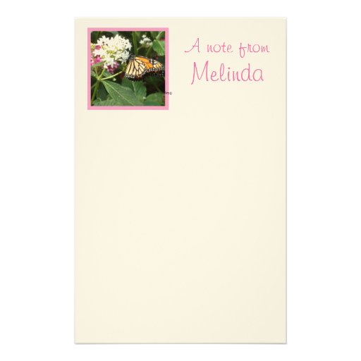 Orange Yellow Butterfly Pink White Flowers Custom Stationery