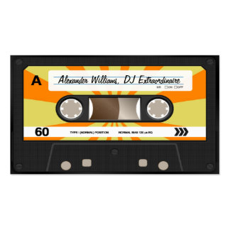 Orange/Yellow Cassette Tape Double-Sided Standard Business Cards (Pack Of 100)