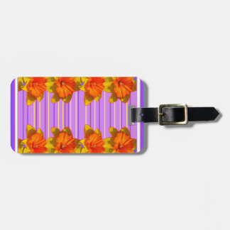 Orange-Yellow Daffodils Lilac Purple Pattern Bag Tag
