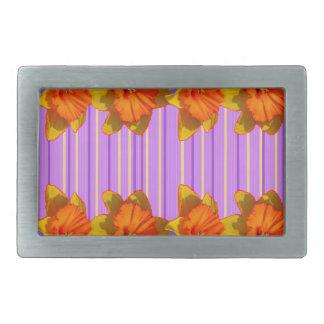 Orange-Yellow Daffodils Lilac Purple Pattern Belt Buckle