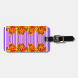 Orange-Yellow Daffodils Lilac Purple Pattern Luggage Tag