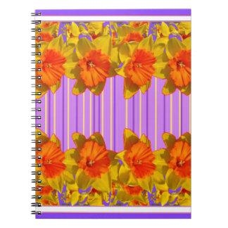 Orange-Yellow Daffodils Lilac Purple Pattern Note Books