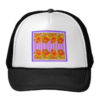Orange-Yellow Daffodils Lilac Purple Pattern Trucker Hat