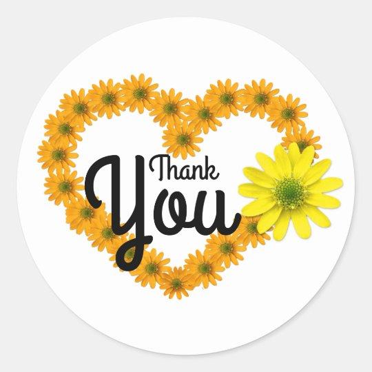 Orange & Yellow Daisy Heart Thank You Sticker
