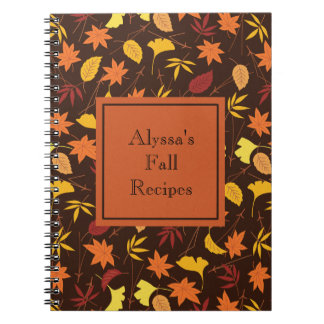 Orange Yellow Fall Leaves Brown Personalized Notebook