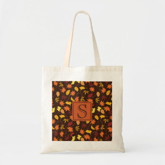Orange Yellow Fall Leaves Monogram Tote Bag