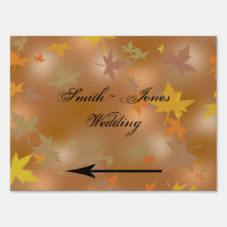 Orange Yellow Fall Leaves Wedding Direction Sign