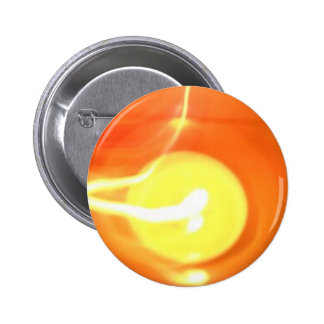 Orange Yellow Flame Candle Light, Art 2 Inch Round Button