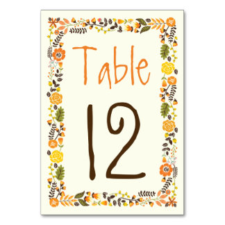 Orange, yellow floral border wedding table number table cards