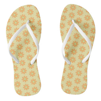Orange Yellow Flowers Pink Polka Dots FlipFlops