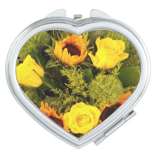 Orange Yellow Flowers Roses Sunflower Floral Travel Mirrors