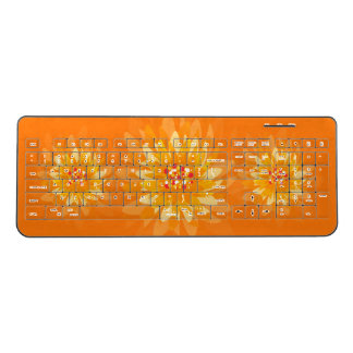 Orange Yellow FLowers Wireless Keyboard