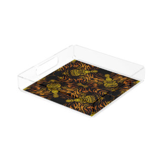 Orange Yellow Glossy Zebra Perfume Tray