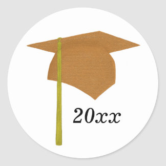 Orange & Yellow Graduation Cap Stickers, Class of Classic Round Sticker