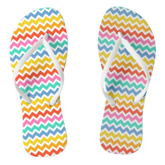 Orange Yellow Green Blue and White Chevrons Flip Flops