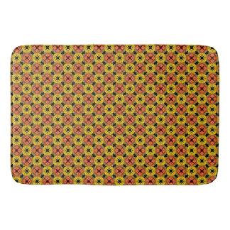 Orange, Yellow, Green Geometric Abstract Pattern Bath Mat