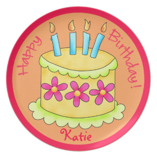 Orange Yellow Happy Birthday Cake Candles Plate
