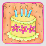 Orange Yellow Happy Birthday Cake Candles Square Sticker