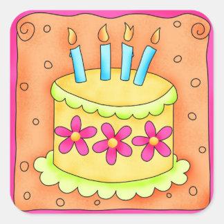 Orange Yellow Happy Birthday Cake Candles Square Sticker