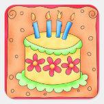Orange Yellow Happy Birthday Cake Candles Square Stickers